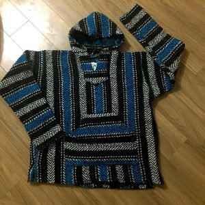 Baja Joe Hoodie striped pullover sweater size L